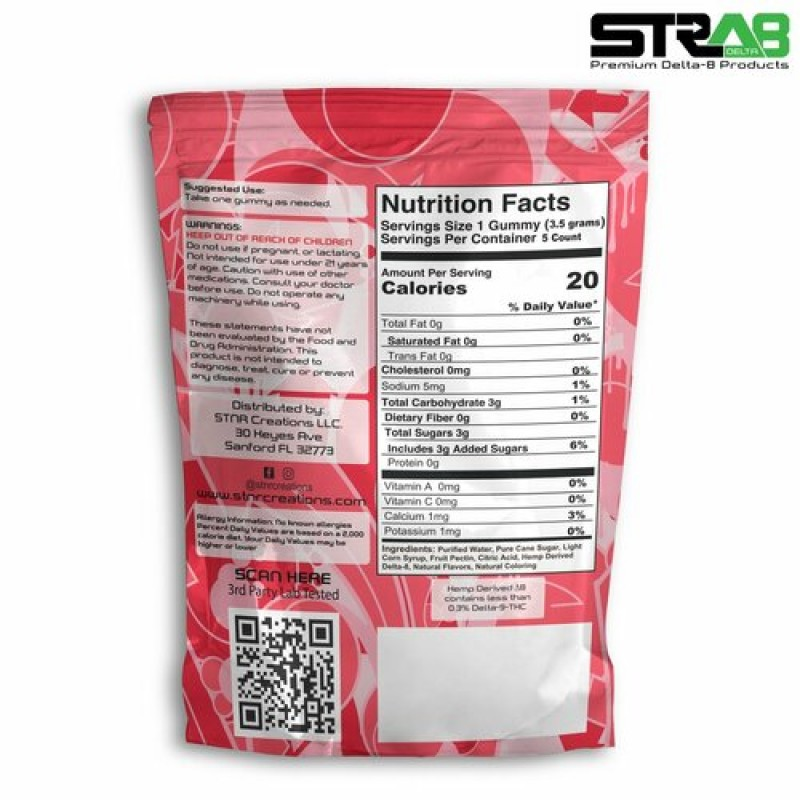 Delta 8 Strawberry Gummies | 20mg 5-Count